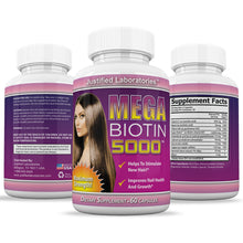 Load image into Gallery viewer, Mega Biotin 5000 Stimulate New Hair Nail Growth Maximum Strength B7 60 Pills