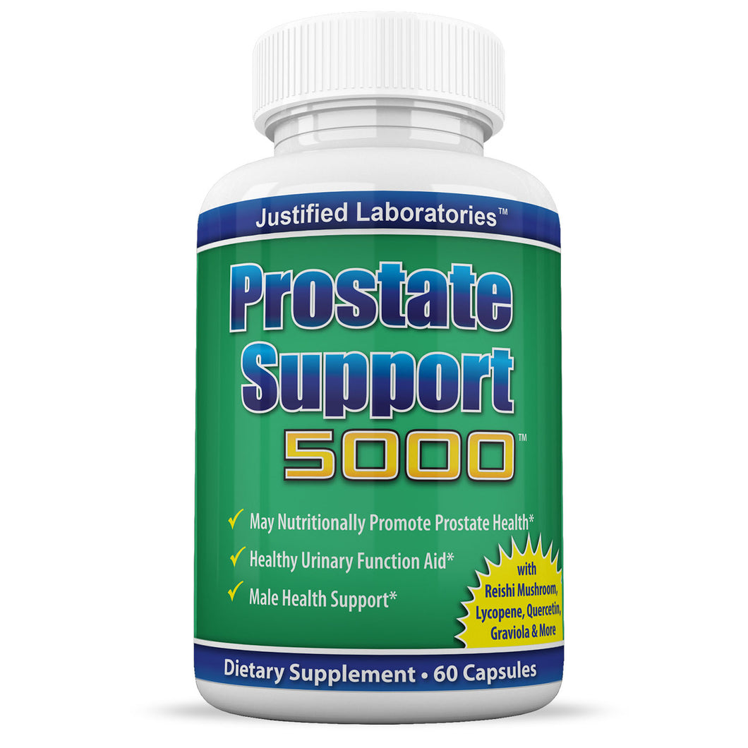 Prostate Support 5000 Promotes Health Urinary Function Includes Saw Palmetto and Over 30 More All Natural Herbs Supplement 60 Capsules