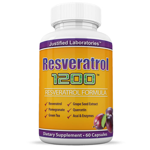 Resveratrol 1200 Contains Green Tea Acai Grape Seed Extract and Other Antioxidants Cardiovascular Health 60 Capsules