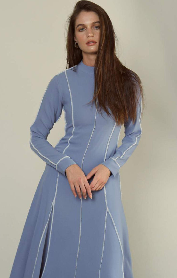 Blue Crepe Midi dress
