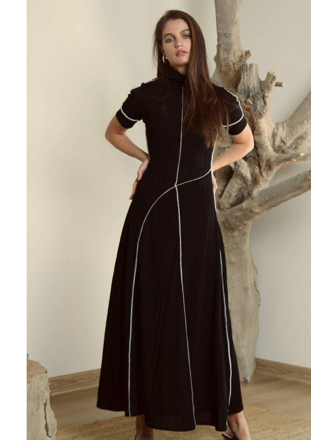 Black rib knitted midi dress