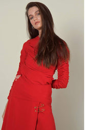 Ruby Red Crepe Midi dress