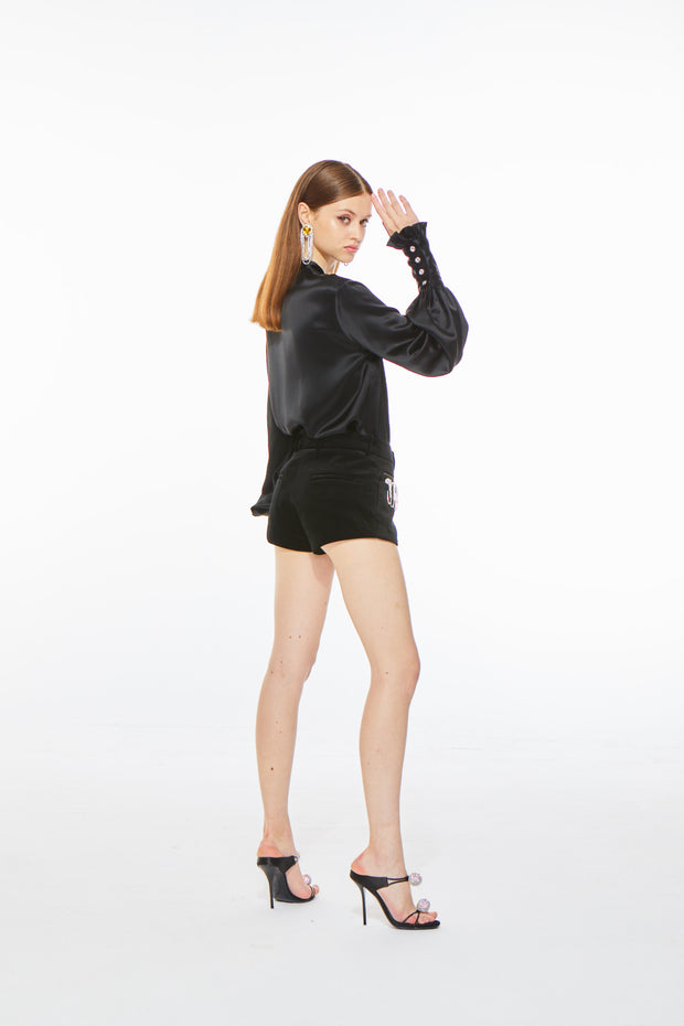 Florence Satin Blouse in Black