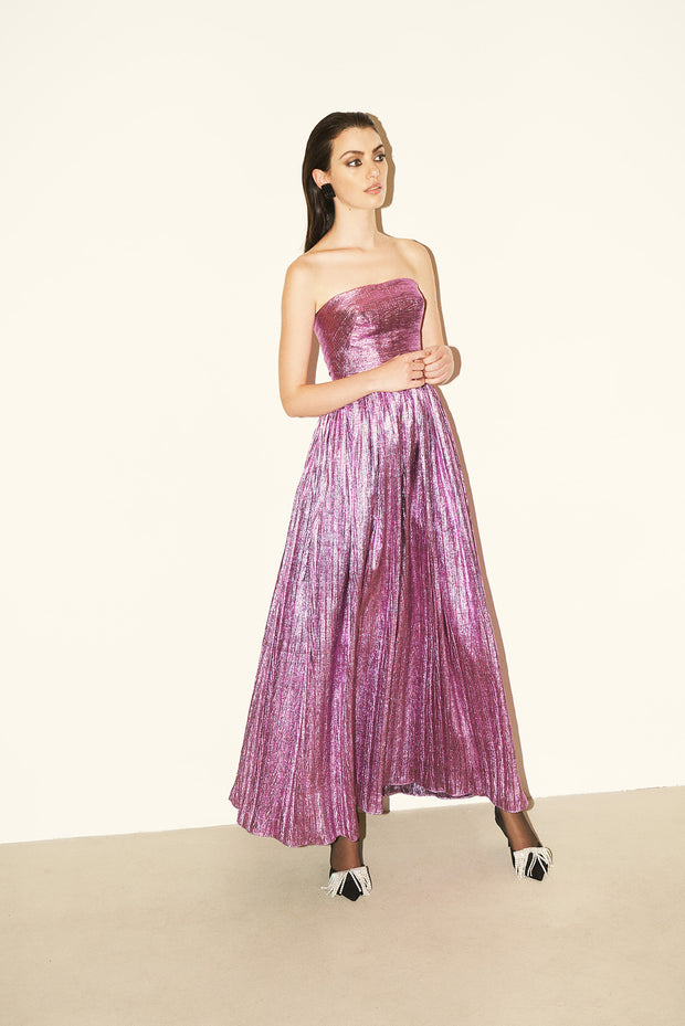 Strapless Pleated Lurex Dress