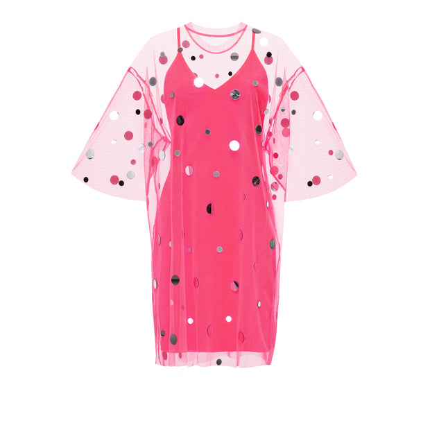 T-Shirt Dress Mirror Splash Hot Pink