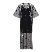 Midi Dress Mirror Splash Black