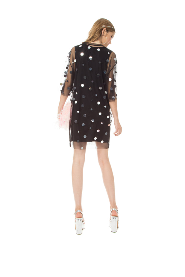 T-Shirt Dress Mirror Splash Black