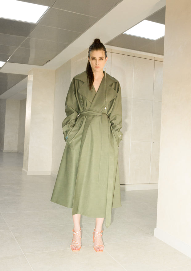 Lightweight Wool-Poplin Coat