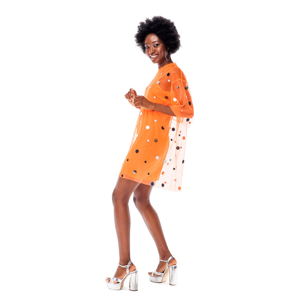 T-Shirt Dress Mirror Splash Neon Orange