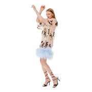 T-Dress Gold Mirror Splash With Ostrich Boa