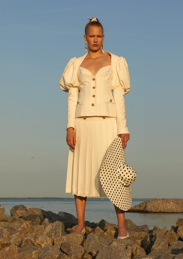 Folded Skirt With Golden Buttons