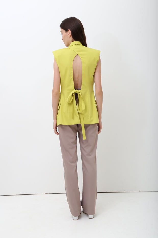 Open Back Sleeveless Blazer