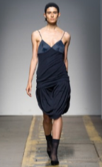 Jing Yu - Navy black draped dress