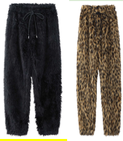 FUR JOGGER PANTS   BLACK   2