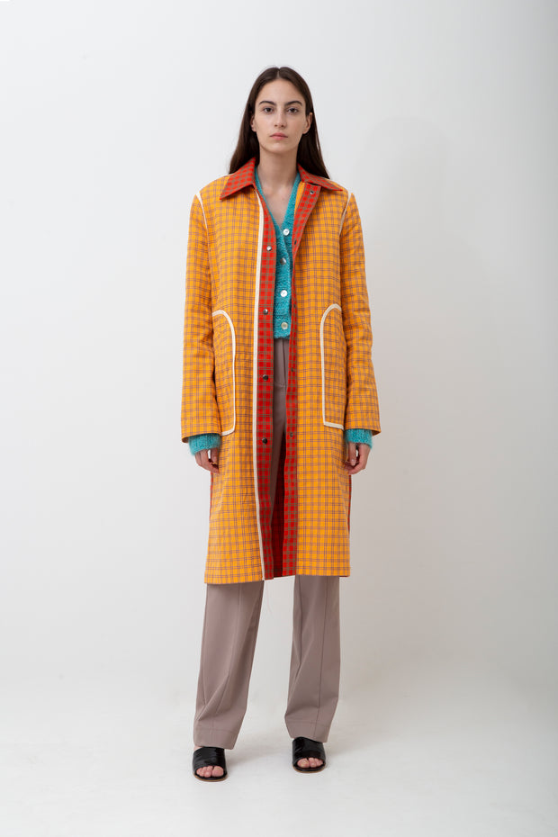 Checked Cotton Trench