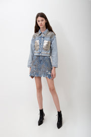 Decorated Denim Skirt