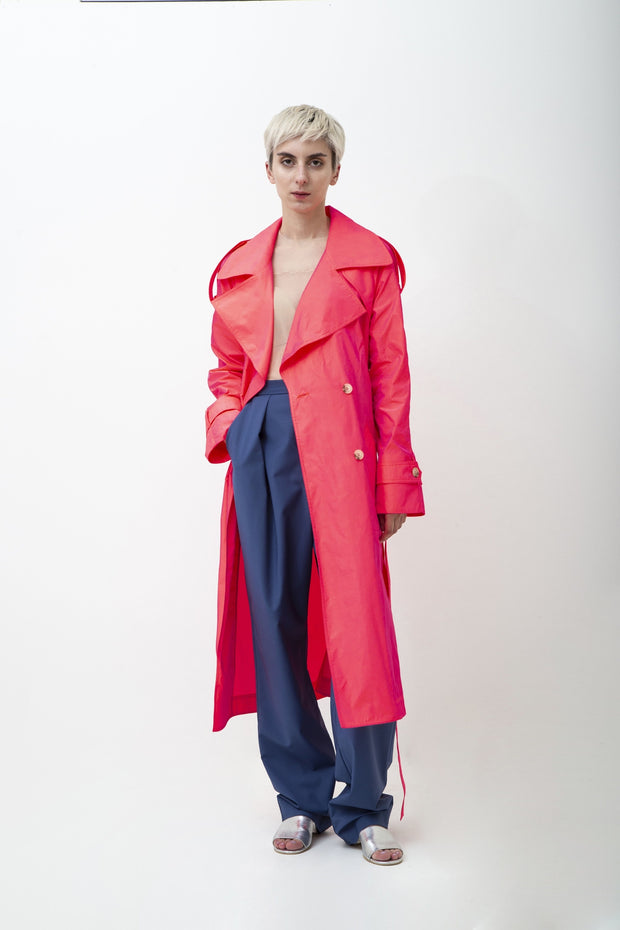 Fuschia Trench Coat