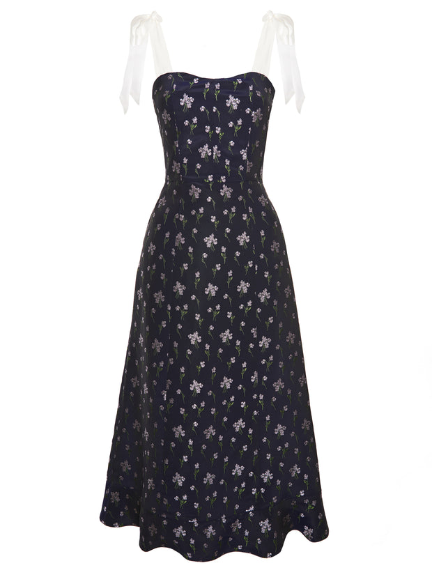 Floral-Jacquard Midi Dress With Silk Bows