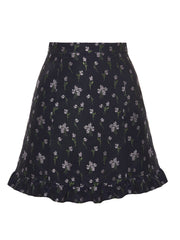 Floral-Jacquard Mini Baby-Doll Skirt
