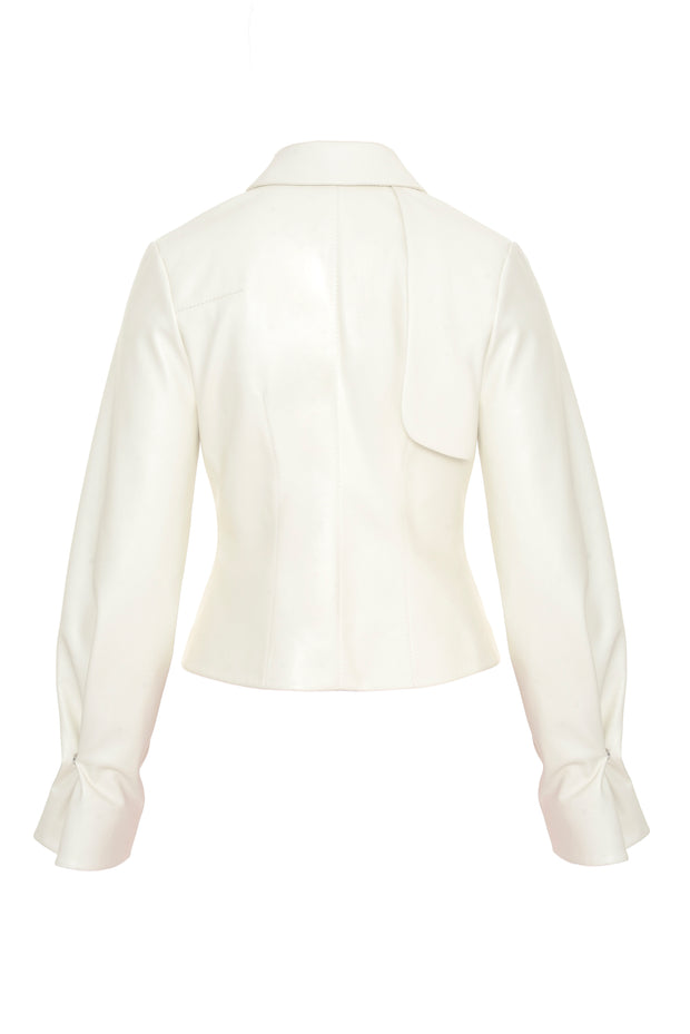 White Faux Leather Blazer