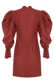 Burgundy Puff Sleeve Dress