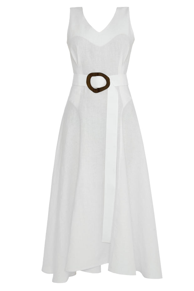 White Linen Dress With Belt