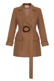 Brown Blazer With Wooden Belt
