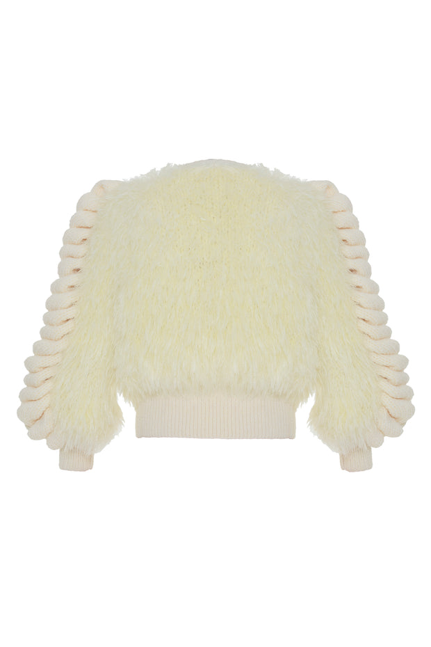 Faux Fur Knitted Jacket