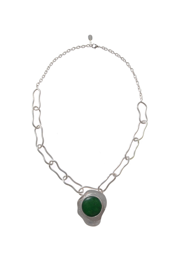 Green Stone Pendant With Silver Chain