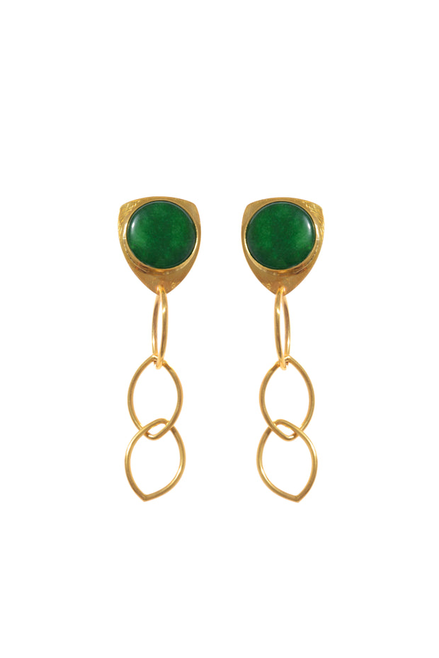 Green Chain Earrings