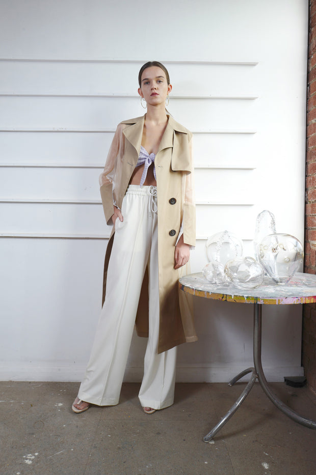 Trench Coat with Organza Back