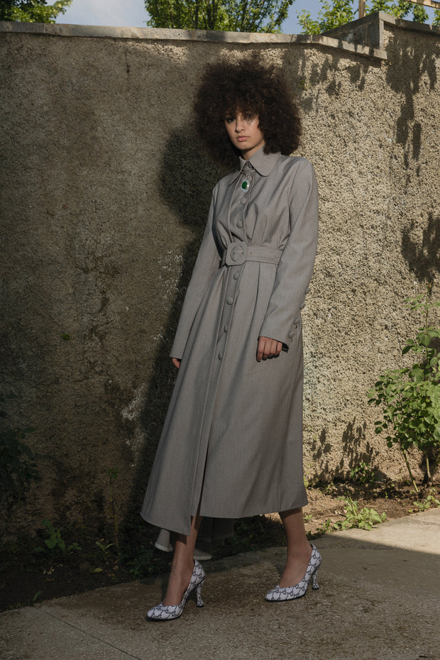 Gray Trench With Belt