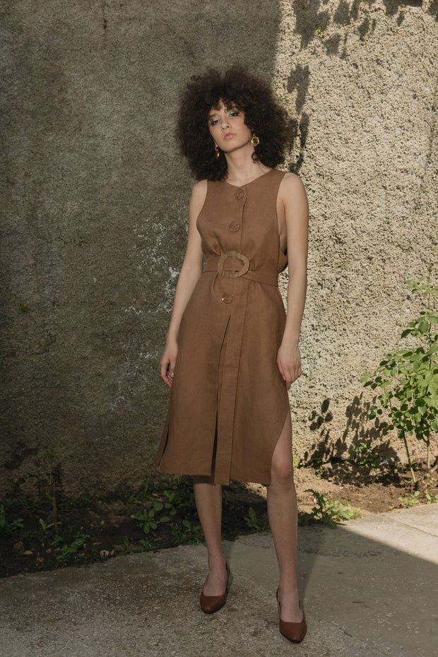 Brown Linen Double Dress