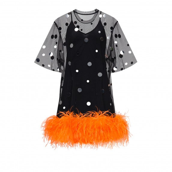 "OVERSIZE T-DRESS ""MIRROR SPLASH"" BLACK WITH ORANGE OSTRICH BOA"