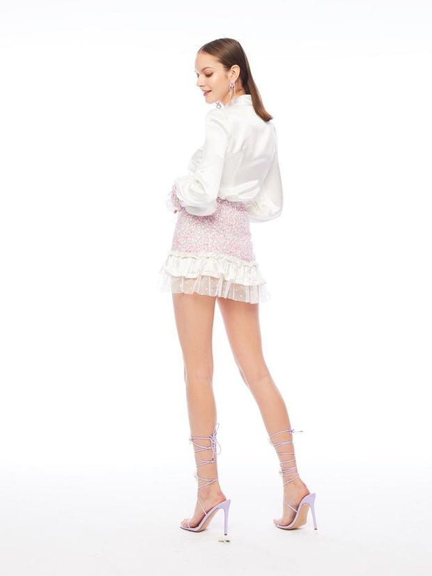 Charlotte Blouse with Lace Mini Skirt