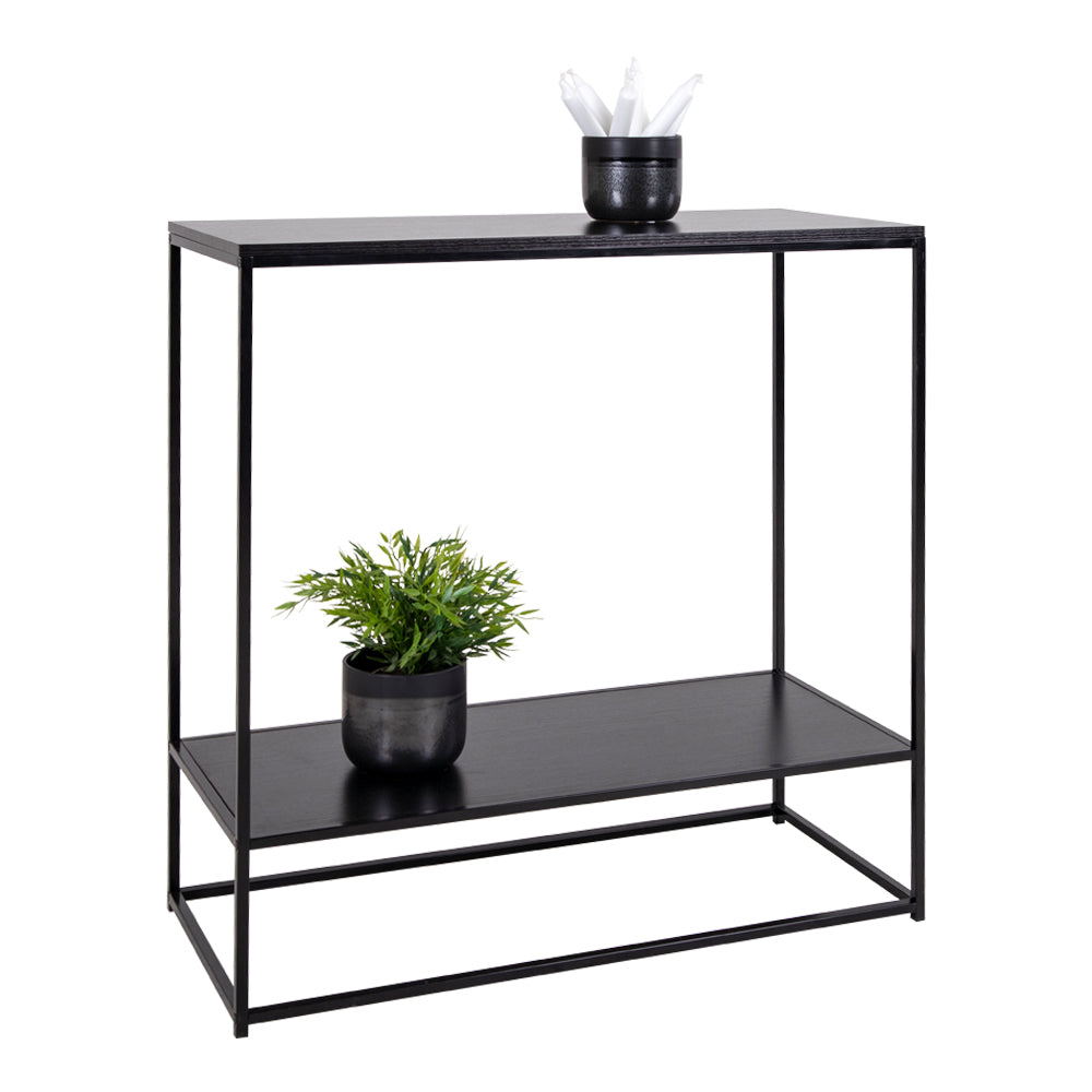 Image of   House Nordic Konsolbord Metal Træ Sort 80x80x36 cm