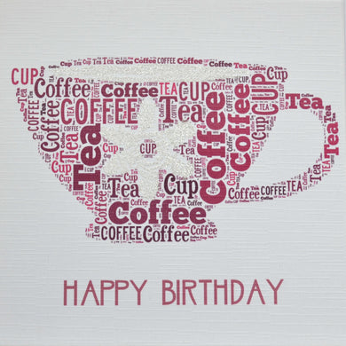 TEA CUP HAPPY BIRTHDAY with sparkle - order code 256