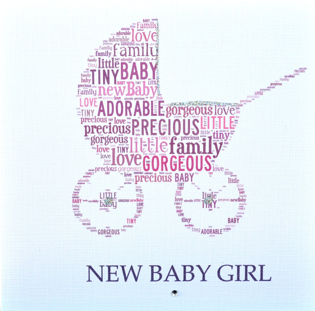 BABY GIRL PRAM with sparkle  -  order code 239
