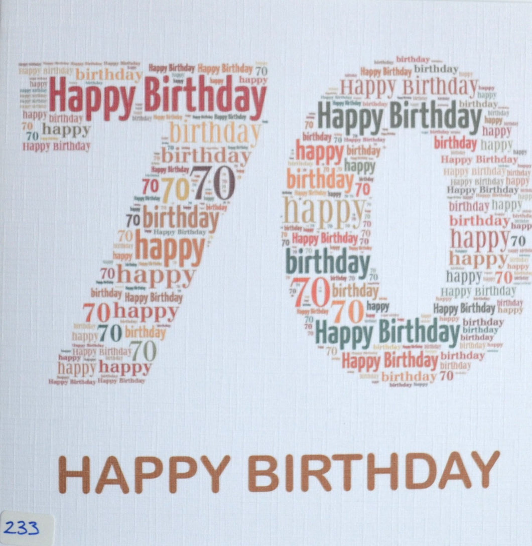 Happy Birthday 70  - order code 233