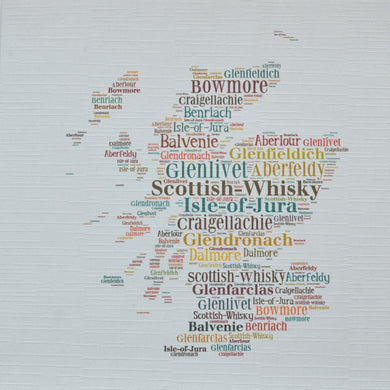 SCOTTISH MAP WITH WHISKY WORDS    order code 337