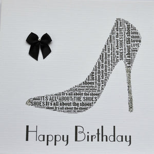 BLACK SHOE - HAPPY BIRTHDAY  with sparkle and bow    order code 249