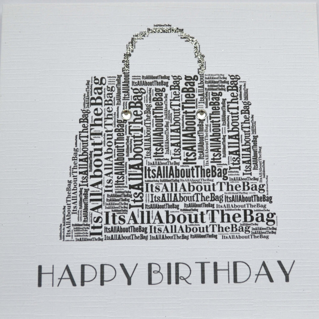 HANDBAG HAPPY BIRTHDAY with sparkle and diamond  - order code 250