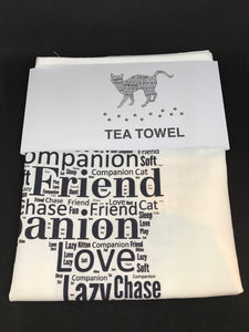 Cat with paw prints Tea Towel