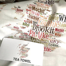 Load image into Gallery viewer, MAP OF SCOTLAND WITH DORIC WORDS TEA TOWEL
