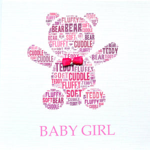 BABY GIRL TEDDY with ribbon bow and diamond  -  order code 241
