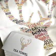 Load image into Gallery viewer, STAG HEAD WITH DORIC WORDS TEA TOWEL