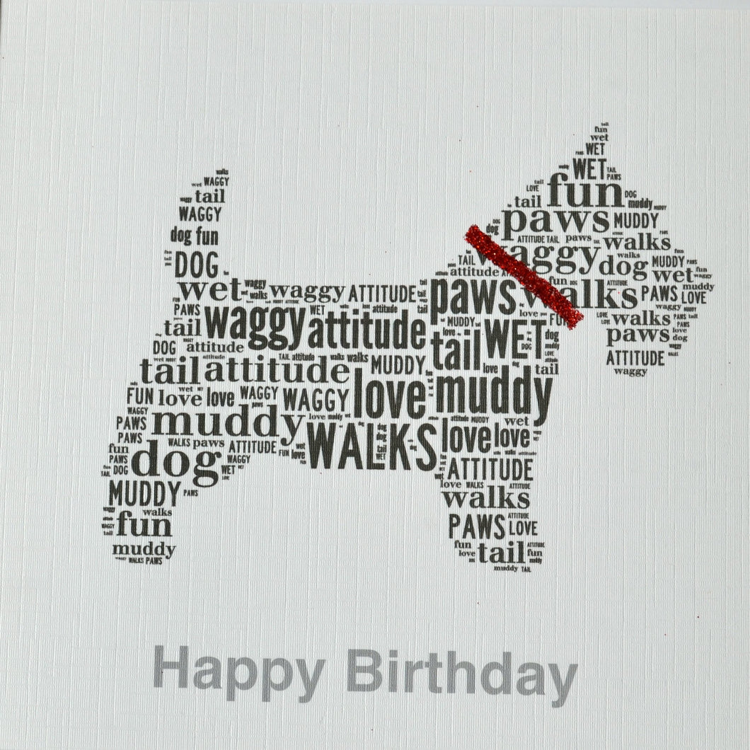 SCOTTIE WITH SPARKLE COLLAR HAPPY BIRTHDAY - order code 208