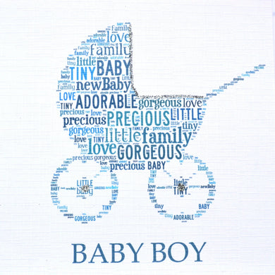 BABY BOY PRAM with sparkle  -  order code 236