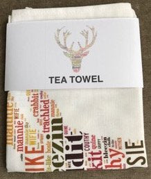 STAG HEAD WITH DORIC WORDS TEA TOWEL