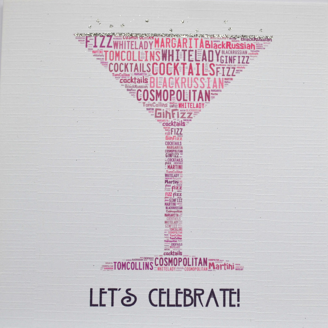 COCKTAIL GLASS LET'S CELEBRATE with sparkle - order code 246